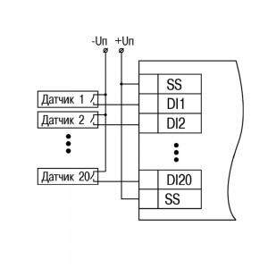 МВ210-202 схема подключения контактные датчики