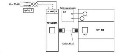 Схема подключения ПР-МИ485 к ОВЕН ПР