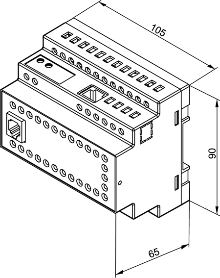 Габаритный чертеж ОВЕН ПЛК154