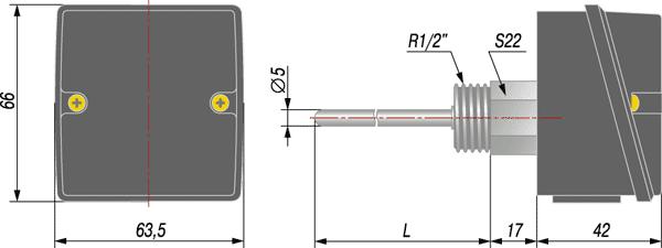 Степень защиты: IP54.  Схема подключения: двухпроводная.  Датчик ОВЕН ДТС3105-РТ1000.В2.х предназначен...