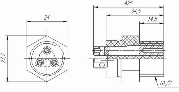 Датчик уровня кондуктометрический 3-х стержневой