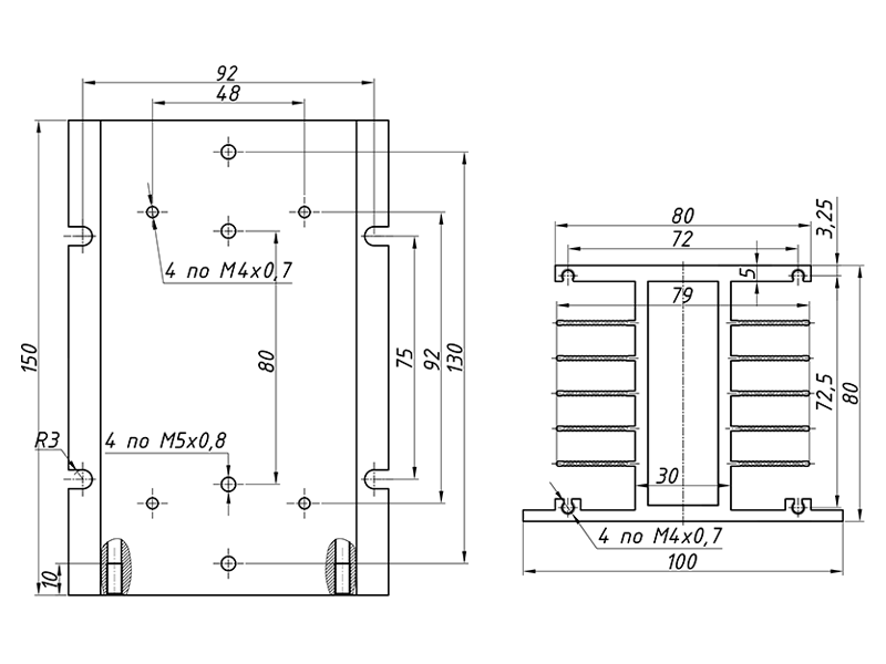 чертеж радиатора РТР036