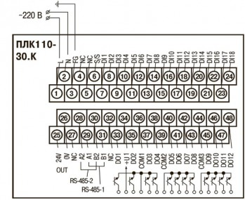 ОВЕН ПЛК110-30. Схемы подключения