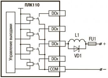 ОВЕН ПЛК110. Схемы подключения