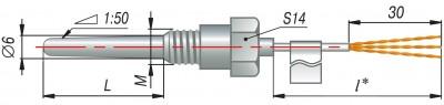 Конструктивные исполнения термопар типа ДТПК(ХА), ДТПL(ХК) с кабельным выводом
