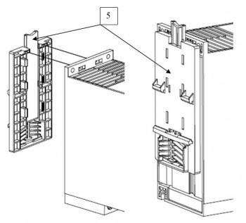 Монтаж замка на DIN- рейку «Комплект KM1-2», поз. 5.