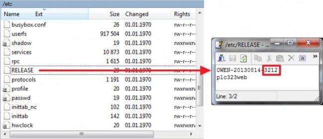 Окно просмотра версии прошивки ПЛК323 в WinSCP.