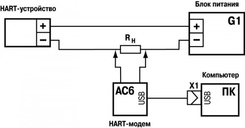 Схема подключения. Преобразователь интерфейсов ОВЕН АС6