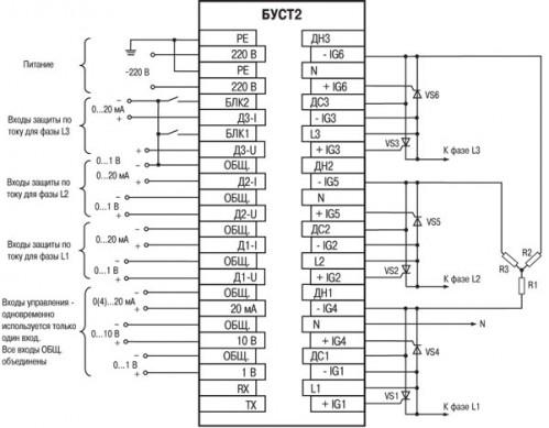 Схема соединения для типа подключения нагрузки «звезда без нейтрали»