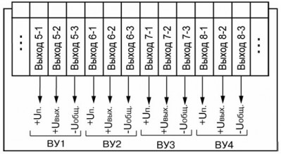 Схема подключения выходных устройств прибора ТРМ 138-У
