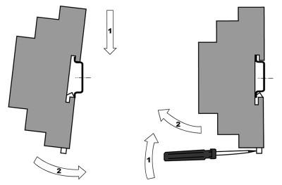 Монтаж контроллера с креплением на DIN-рейку