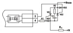 Схема подключения нагрузки к ВУ типа С двух тиристоров, подключенных встречно-параллельно