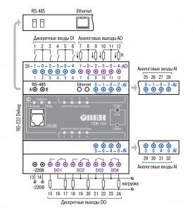 Схема подключения ОВЕН ПЛК154-220