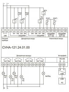 Схема подключения СУНА-121.24.01.00