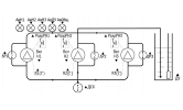 Заполнение резервуара 3-мя насосами по аналоговому датчику уровня