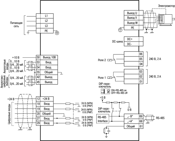 Схема электрических соединений всех клемм преобразователя частоты ОВЕН ПЧВ3