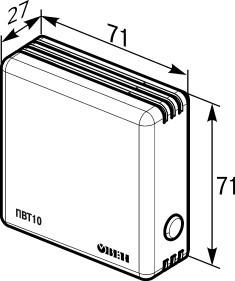 Габаритные размеры датчика влажности помещения.