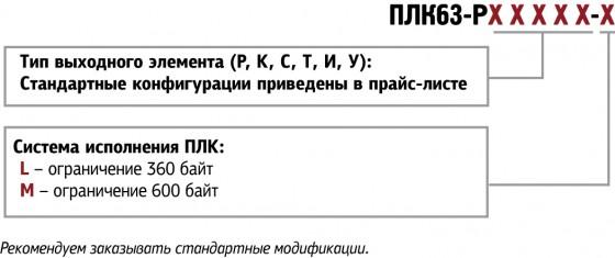 Обозначения при заказе ОВЕН ПЛК63