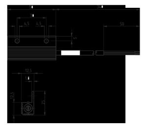 Габаритные и установочные размеры щитового конвекционного нагревателя МТК