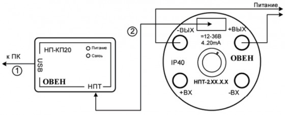 Схема подключения НП-КП20 к НПТ