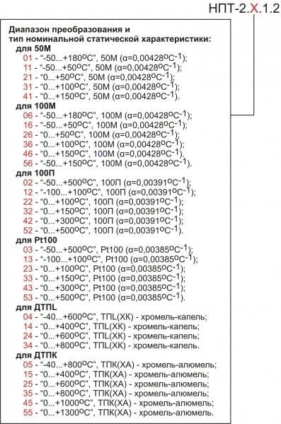 Обозначения при заказе НПТ-2.