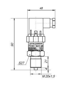 Габаритные размеры ПД100-ДИ/ДА/ДИВ/ДВ-111-0,25/0,5/-EXIA