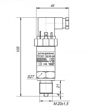 Габаритные размеры ПД100-ДИ/ДВ/ДИВ-411-0,5