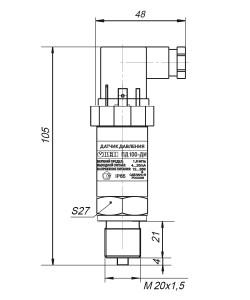Габаритные размеры ПД100-ДИ/ДИВ/ДВ-811-0,5/1,0/1,5/2,5