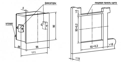 Габаритные и установочные размеры ПД150 в корпусе Щ1
