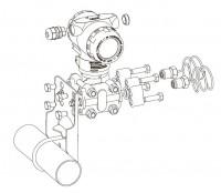 Монтаж ПД200-ДД на трубу, к процессу через импульсные трубки