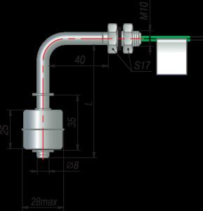 Поплавковый датчик уровня горизонтального крепления ПДУ-1.1.L, ПДУ-1.1.L.К