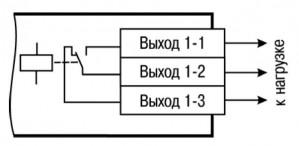 Схема подключения нагрузки к ВЭ типа «Р» (для первого ВЭ)