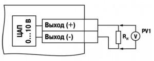 Схема подключения нагрузки к ВЭ типа «У». Rн > 2 кОм