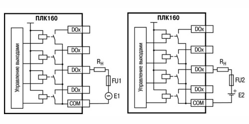 Выходные элементы типа Р контроллера с внешними цепями защиты при активной нагрузке