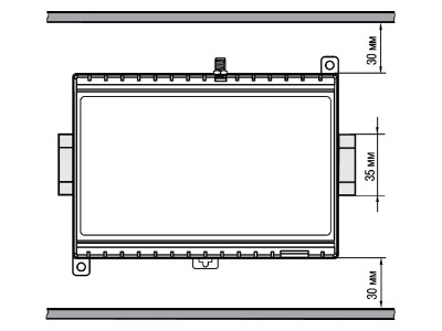 Расстояние до стенок корпуса ПЛК323 при монтаже в шкаф для обеспечения вентиляции