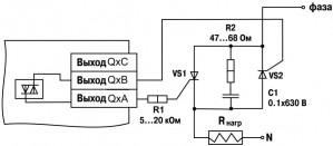 Схема подключения к ВУ типа С двух тиристоров, подключенных встречно-параллельно