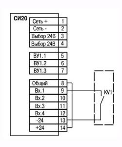 Подключение к входу коммутационных устройств при работе с n-p-n датчиками