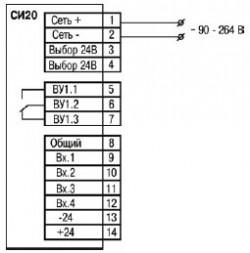 Схема подключения прибора СИ20-У.Х.Р от сети переменного тока