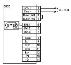 Схема подключения прибора СИ20-У.Х.С от сети постоянного напряжения