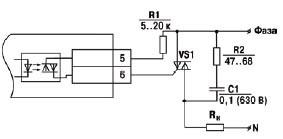 Схема подключения силового симистора к ВУ типа С