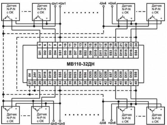 Схема подключения к МВ110-32ДН дискретных датчиков с транзисторным выходом n-p-n-типа с ОК