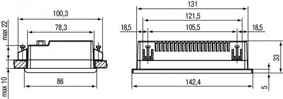 Панельный программируемый логический контроллер ОВЕН СПК105. Установочные размеры