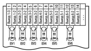 Схема подключения транзисторных оптопар прибора ТРМ136-К