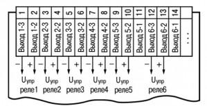 Схема подключения твердотельных реле прибора ТРМ136-Т