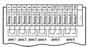 Схема подключения электромагнитных реле прибора ТРМ136-Р