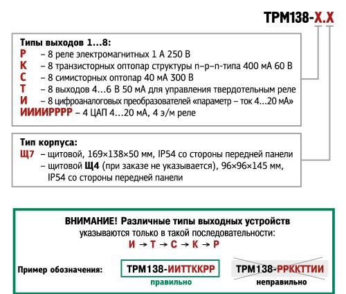 Обозначения при заказе ОВЕН ТРМ138