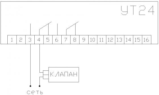 Схему подключения нагрузки УТ24