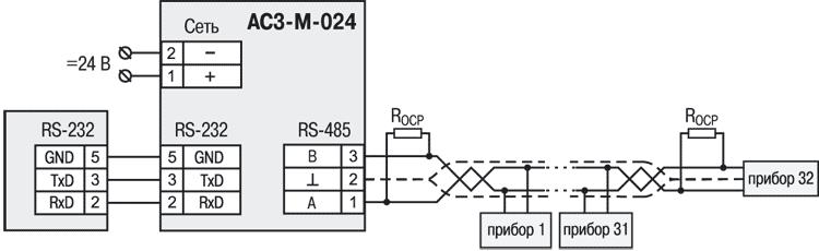 Cхема подключения АС3-М-024.