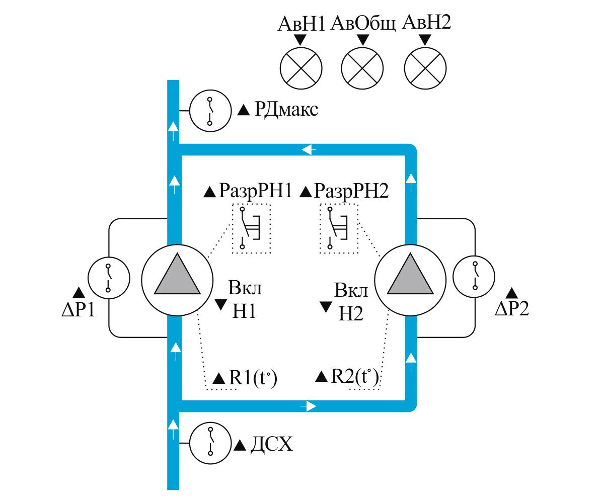 Чередование 2-х насосов