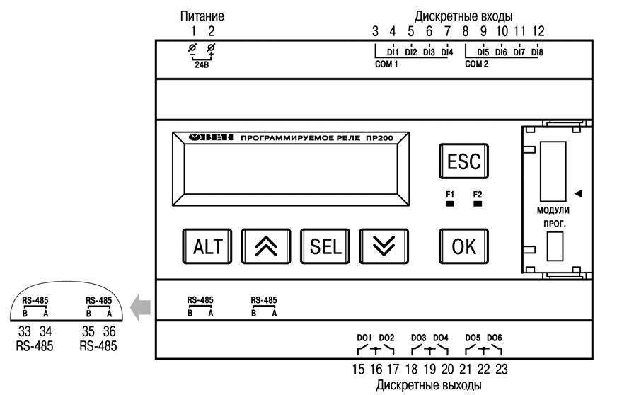Общая схема подключения ПР200-